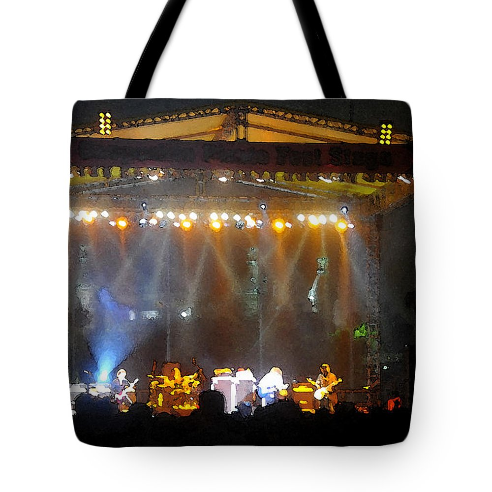 Rock And Roll Tote Bag featuring the painting Rock Concert by David Lee Thompson