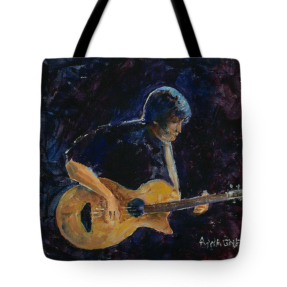 Guitar Tote Bag featuring the painting Rock N Roll by Arline Wagner