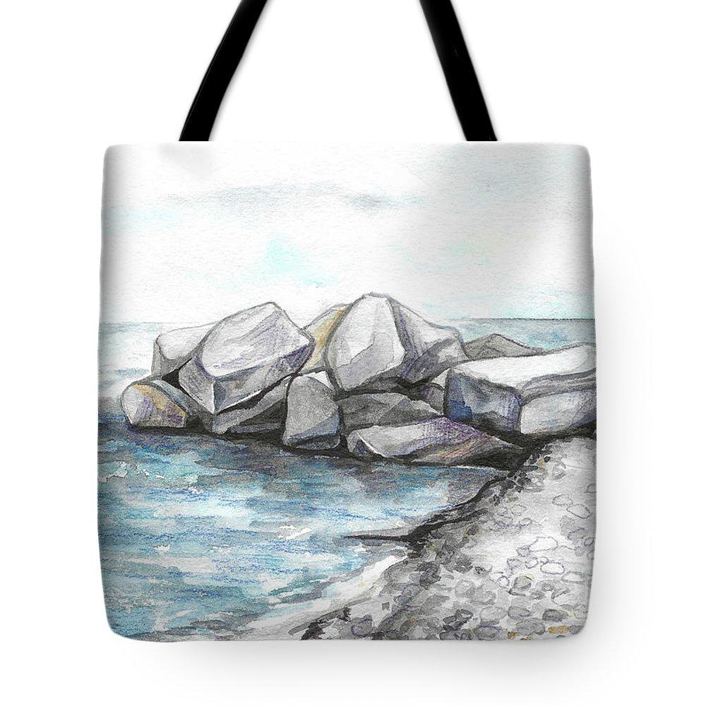 Rocks Tote Bag featuring the painting Rocks by Yana Sadykova