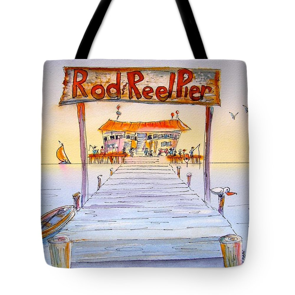 Florida Tote Bag featuring the painting Rod And Reel Pier by Midge Pippel