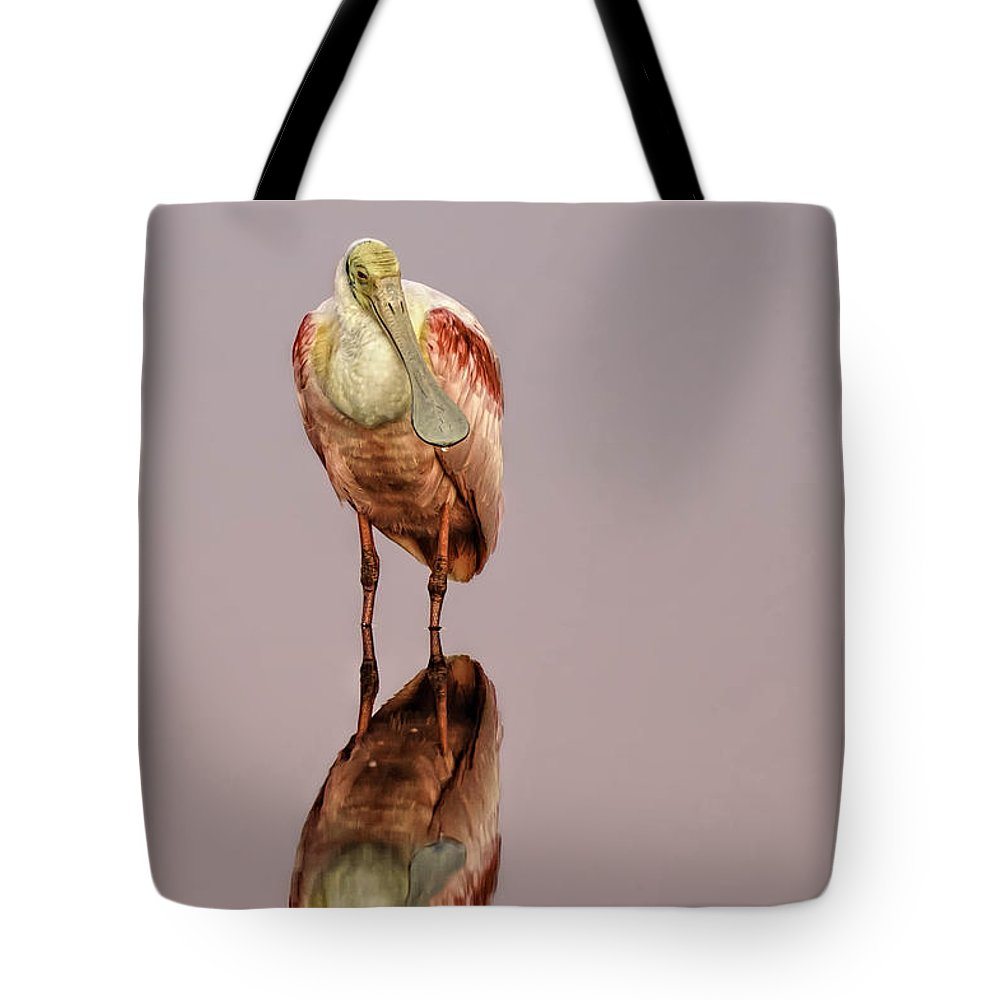 001 Avian Tote Bag featuring the photograph Roseate Spoonbill - Platalea Ajaja by Myer Bornstein