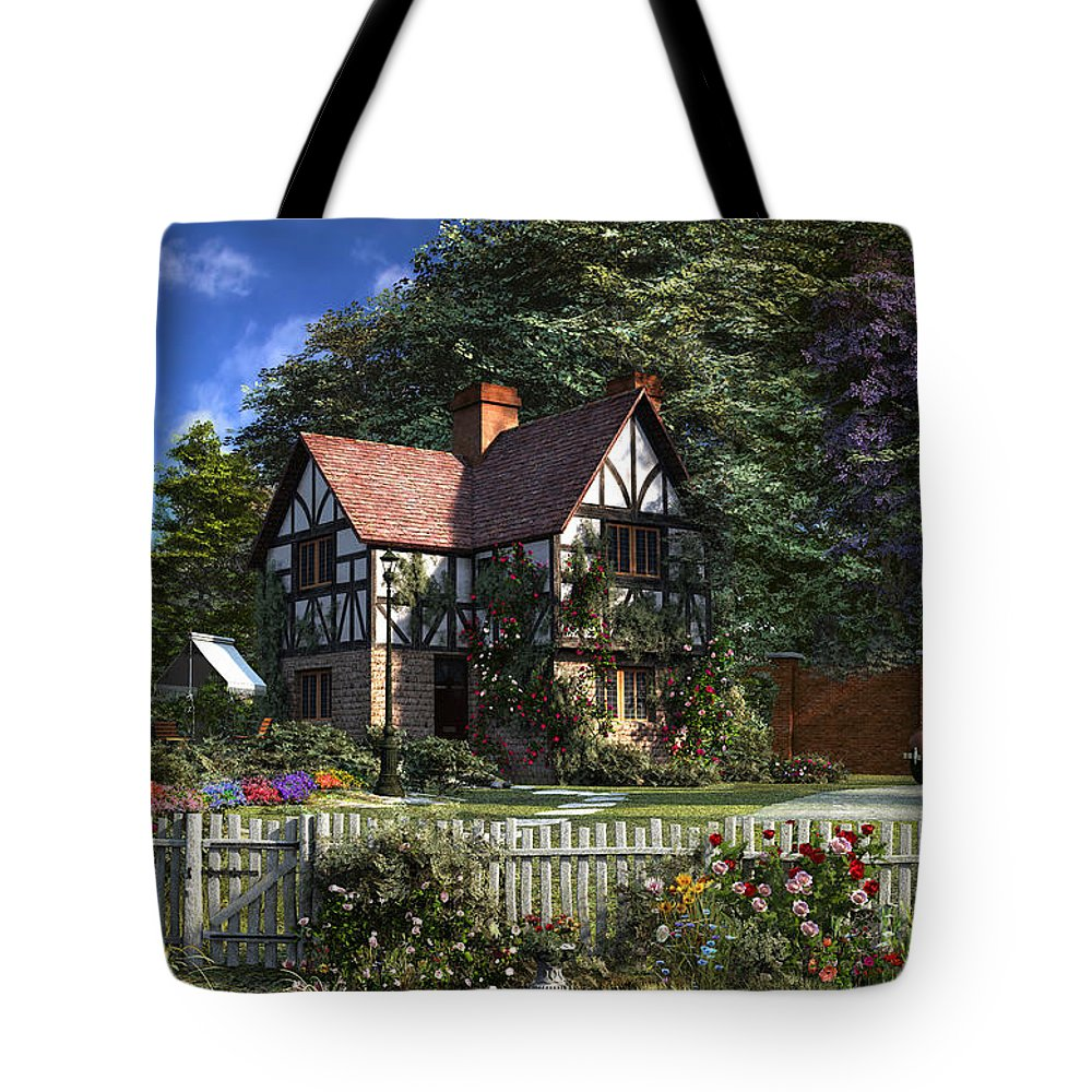 Cottage Tote Bag featuring the digital art Roses House by Dominic Davison