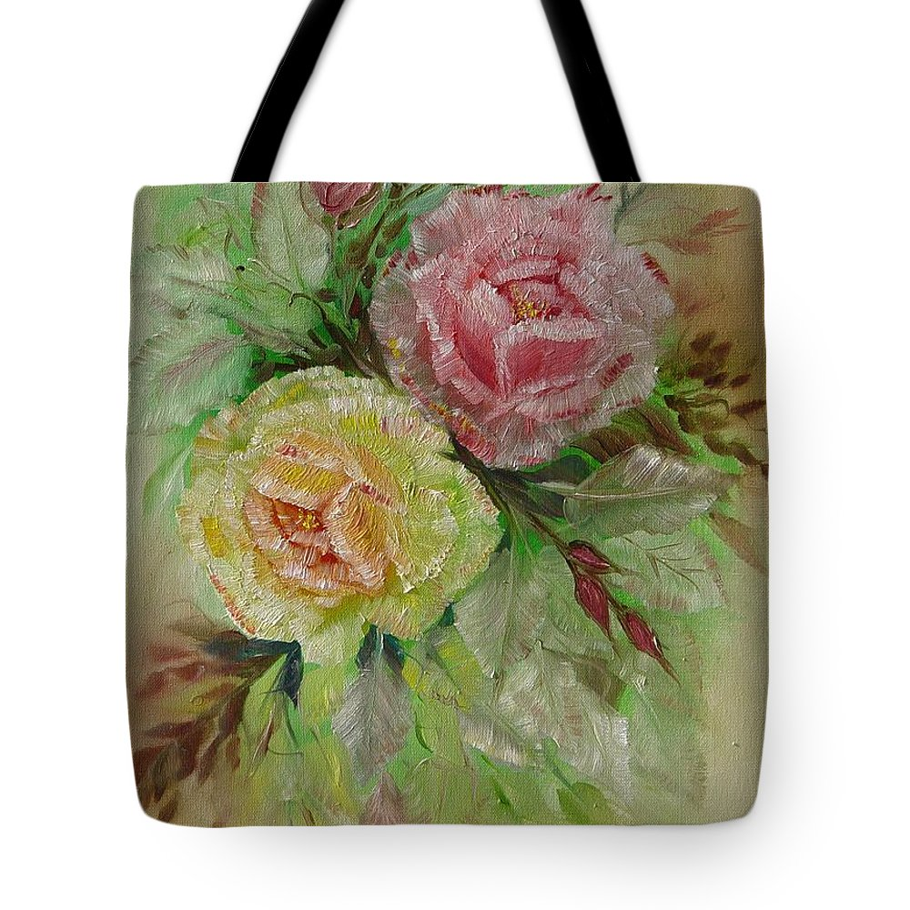 Roses Tote Bag featuring the painting Roses by Quwatha Valentine