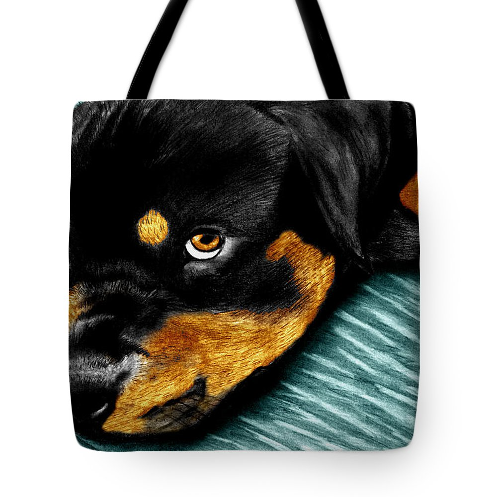 Rot Wilier Tote Bag featuring the drawing Rotty by Peter Piatt