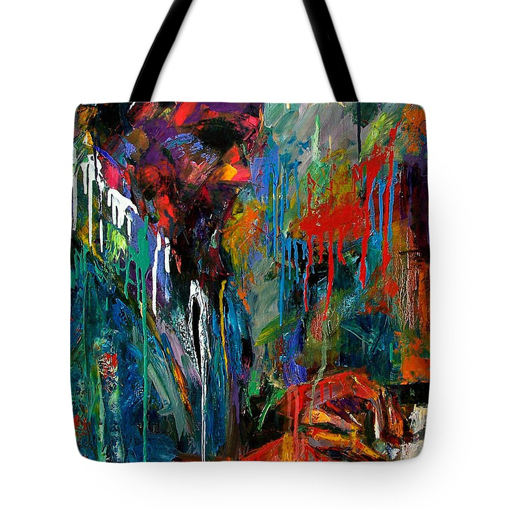 Painting Tote Bag featuring the painting Round Midnight by Debra Hurd