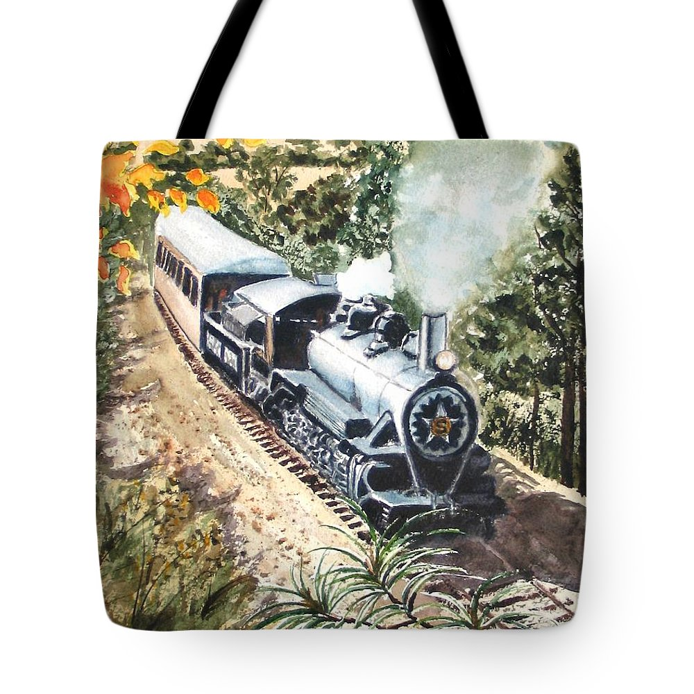 Trains Tote Bag featuring the painting Round The Bend by Karen Ilari