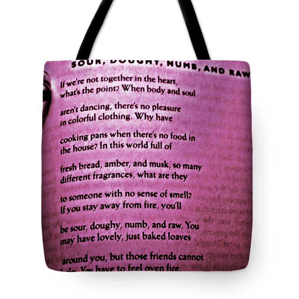 Poetry Tote Bag featuring the photograph Rumi Love by Randy Aveille