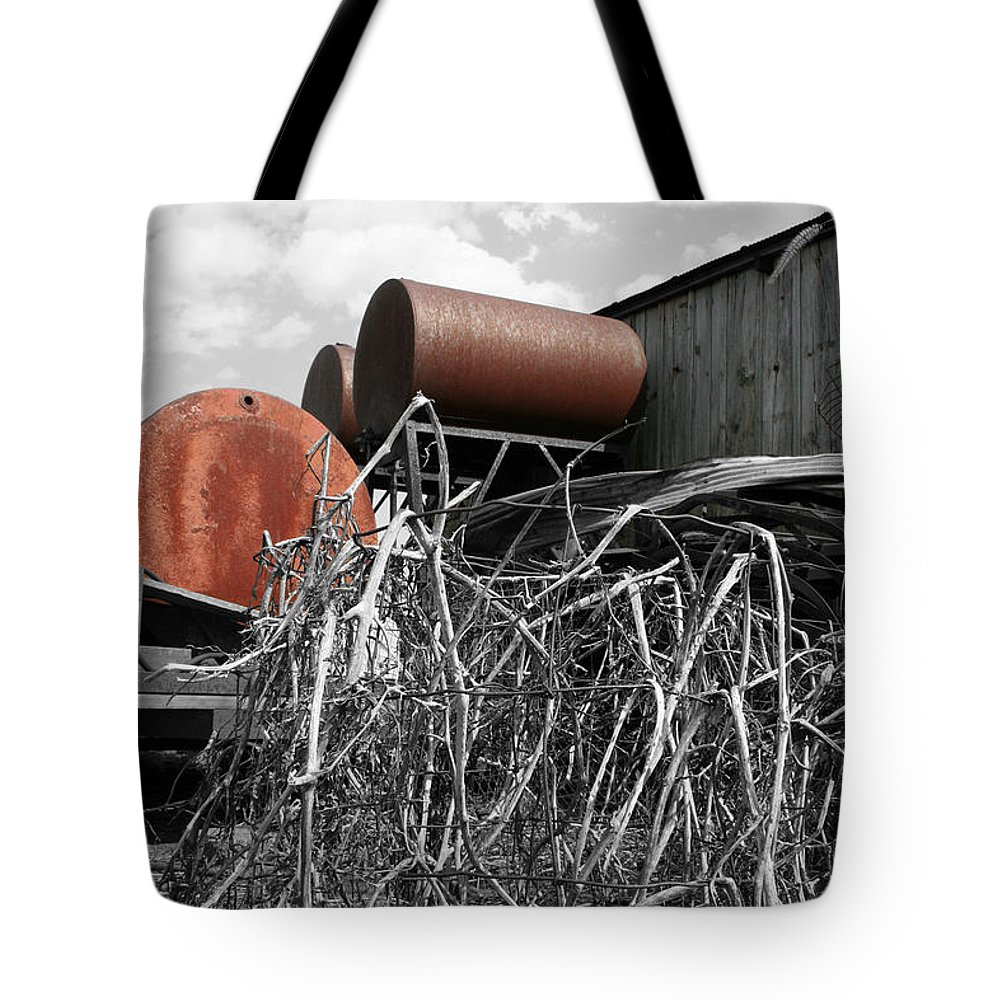 Rust Tote Bag featuring the photograph Rusty Drums by Dylan Punke
