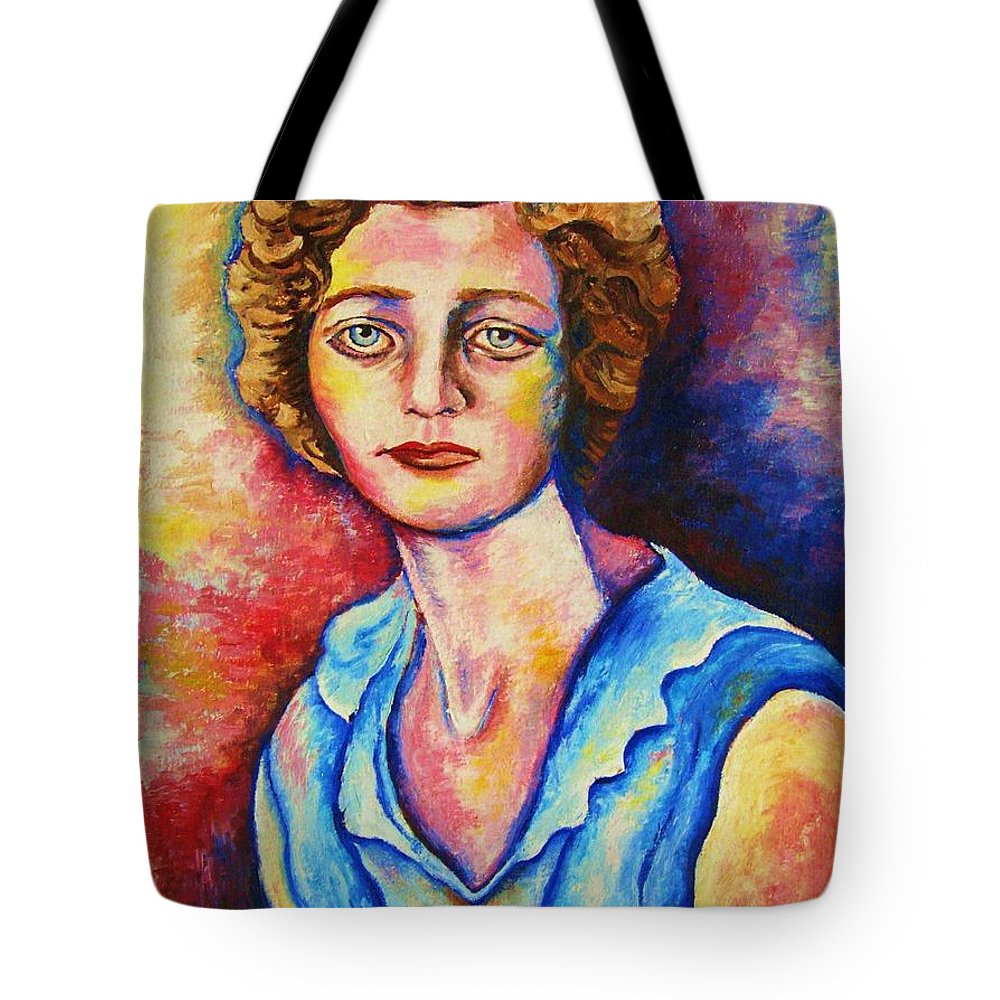 Portraits Tote Bag featuring the painting Sad Eyes by Carole Spandau