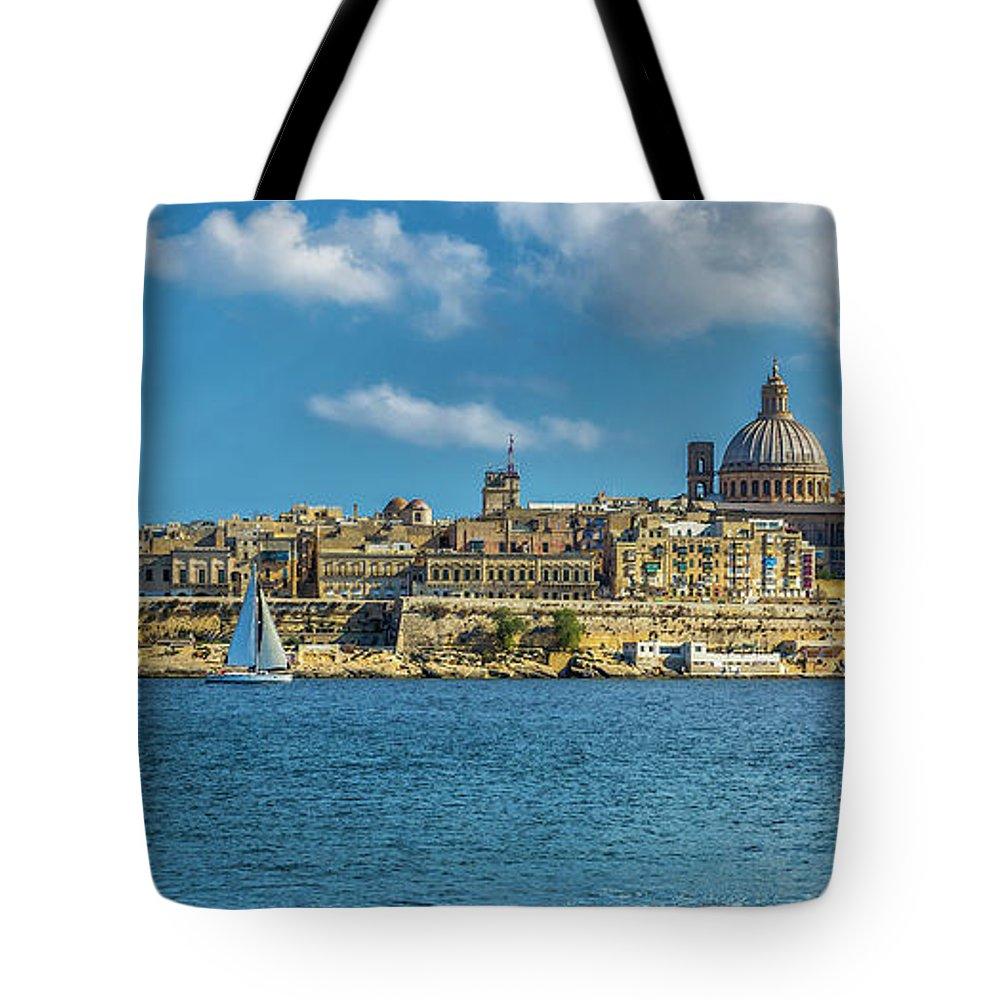 Malta; Gazira; Valletta; Il-birgu ; L-isla; Mediterranean Tote Bag featuring the digital art Sail Boat And Cathedral by Tsafreer Bernstein