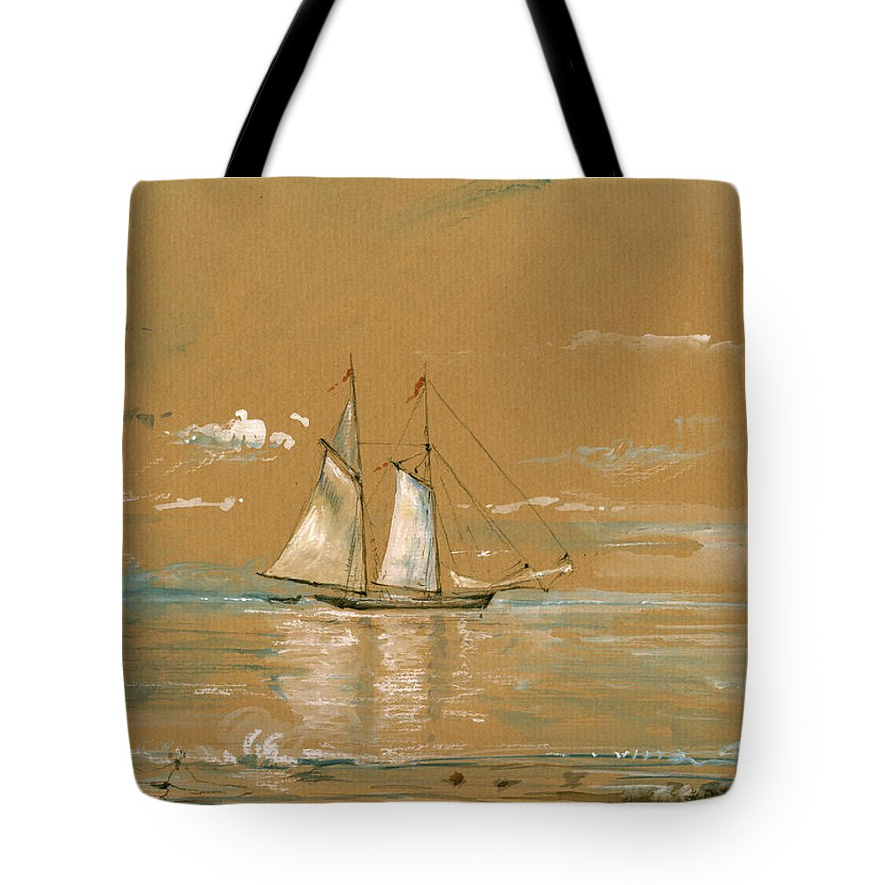Sail Ship Watercolor Tote Bag featuring the painting Sail Ship Watercolor 1 by Juan Bosco