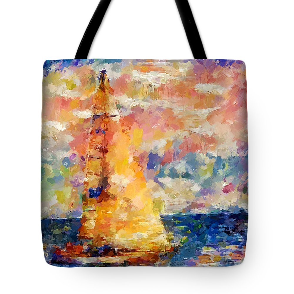 Sea Tote Bag featuring the digital art Sailing In The Sea by Yury Malkov