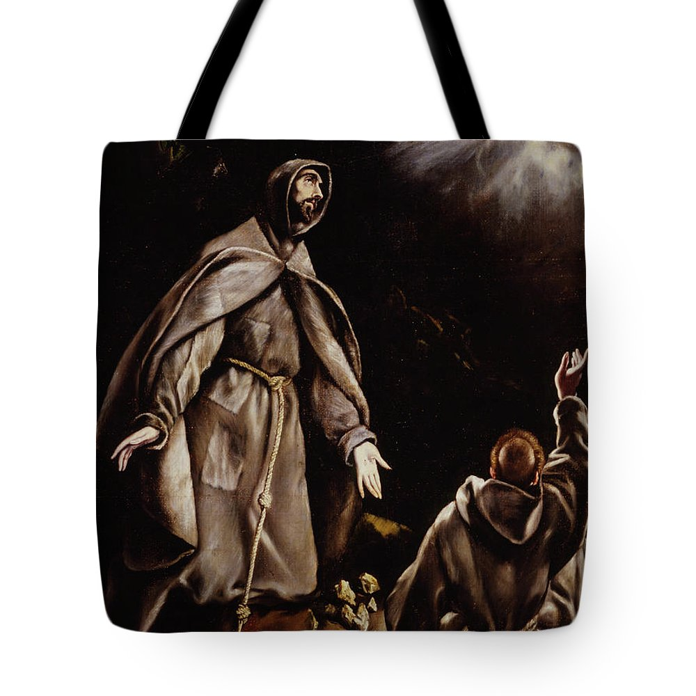 Assisi Tote Bag featuring the painting Saint Francis In Ecstasy by El Greco