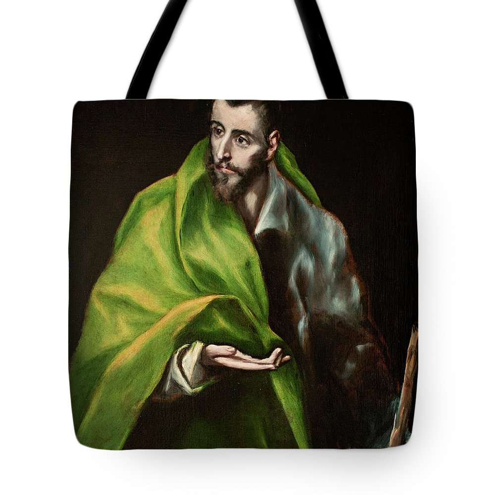 Catholic Tote Bag featuring the painting Saint James The Greater by El Greco