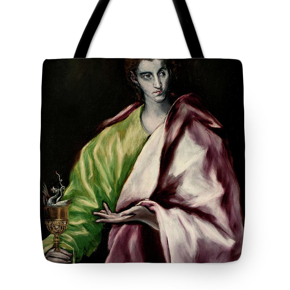 Apostle Tote Bag featuring the painting Saint John The Evangelist by El Greco