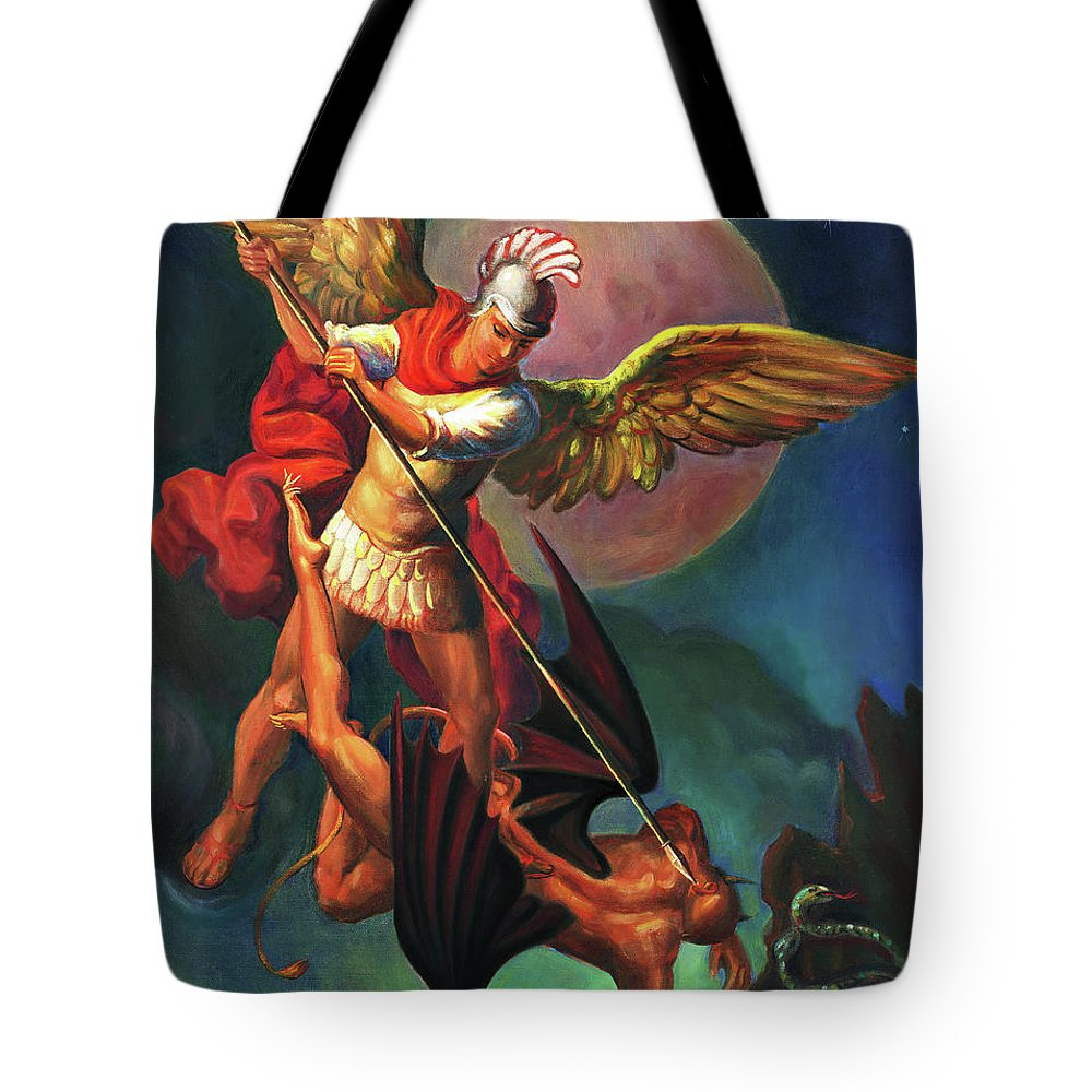 Bible Tote Bag featuring the painting Saint Michael The Warrior Archangel by Svitozar Nenyuk