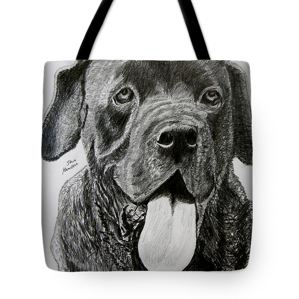 Dog Portrait Tote Bag featuring the drawing Sampson by Stan Hamilton