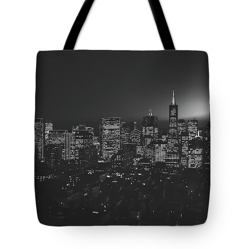 San Francisco Tote Bag featuring the photograph San Francisco At Sunset by Library Of Congress