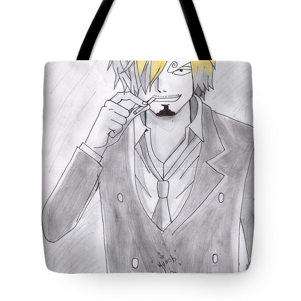 Tote Bag featuring the drawing Sanji by Ayoube Bouzallif