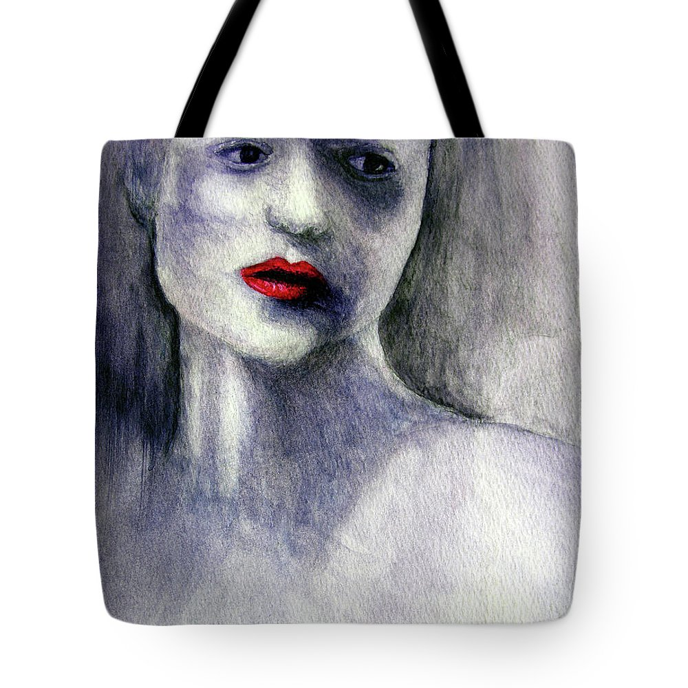 Woman Tote Bag featuring the painting Sara by Adam Vance