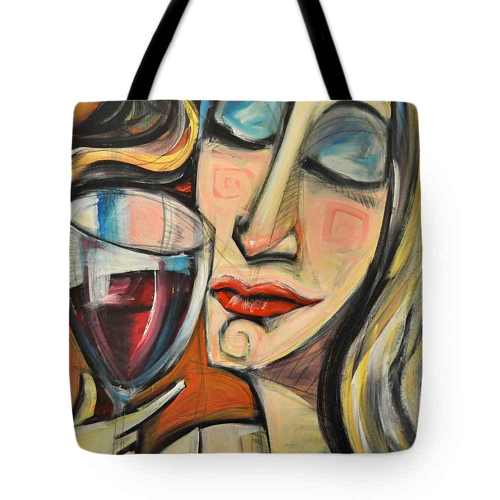 Wine Tote Bag featuring the painting Savoring The First Sip by Tim Nyberg