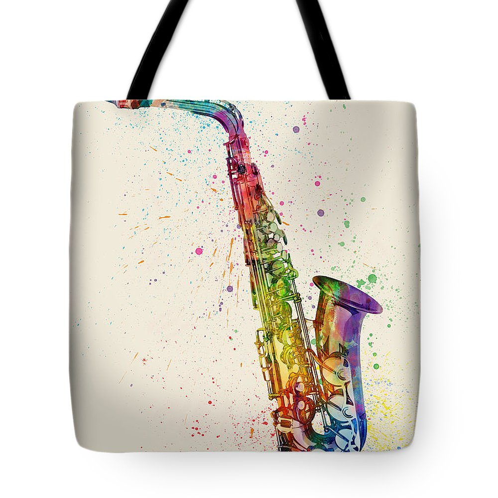 Saxophone Tote Bag featuring the digital art Saxophone Abstract Watercolor 1 by Michael Tompsett