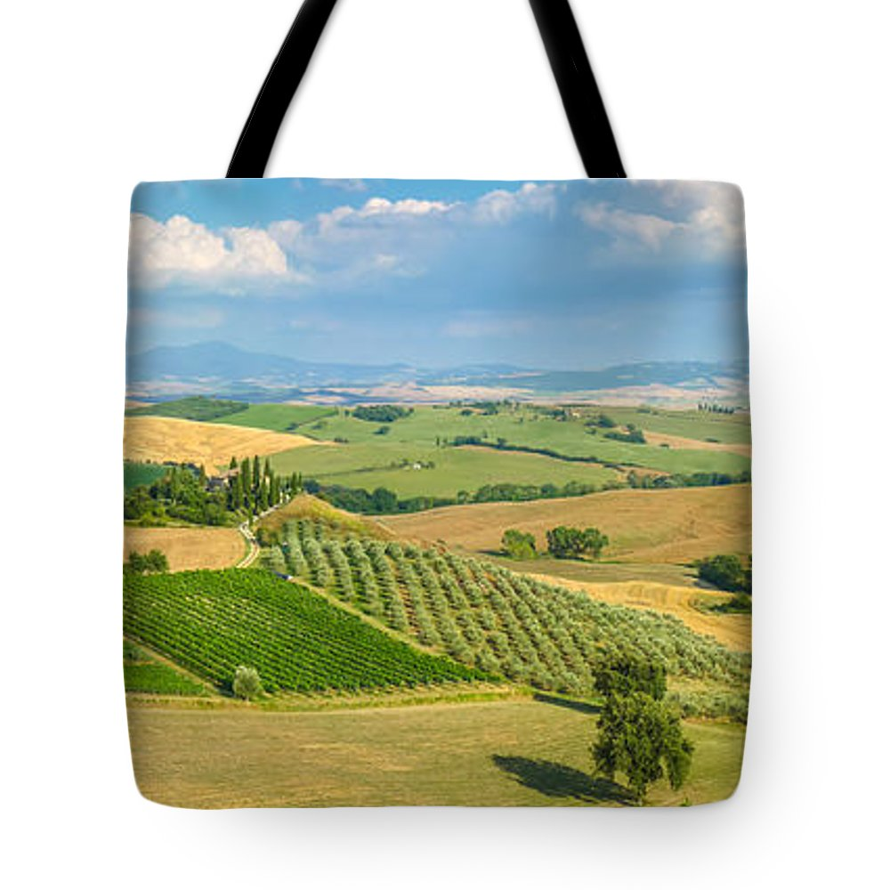 Agriculture Tote Bag featuring the photograph Scenic Tuscany Landscape At Sunset, Val D'orcia, Italy by JR Photography