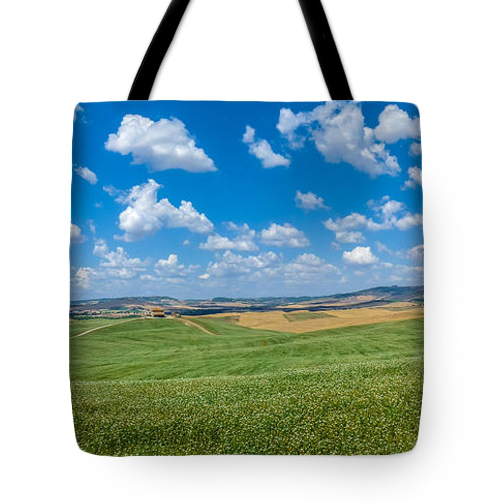 Agriculture Tote Bag featuring the photograph Scenic Tuscany Landscape With Rolling Hills In Val D'orcia, Ital by JR Photography