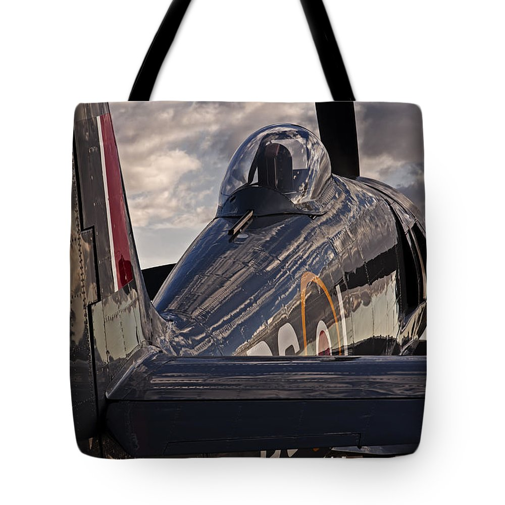 Aviation Tote Bag featuring the photograph Sea Fury Reflections by Rick Pisio