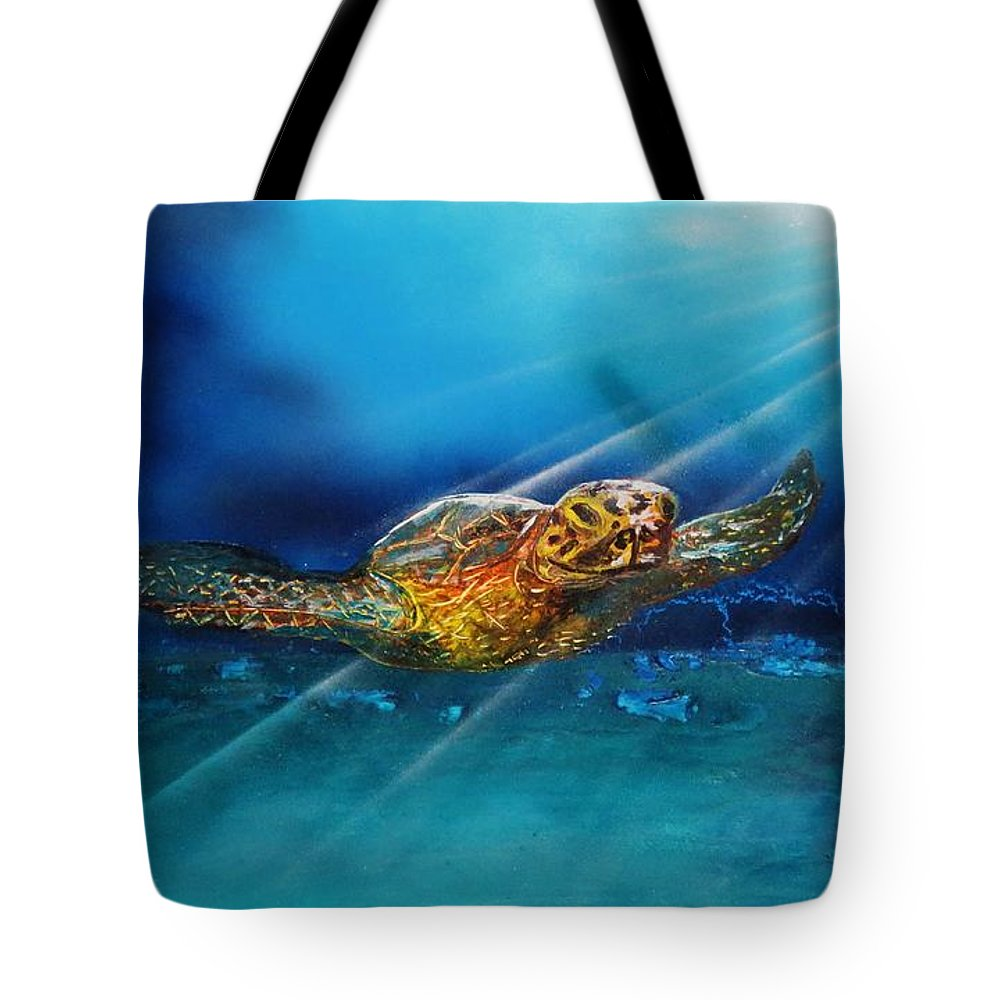 Tote Bag featuring the painting Sea Turtle by Mario Carta