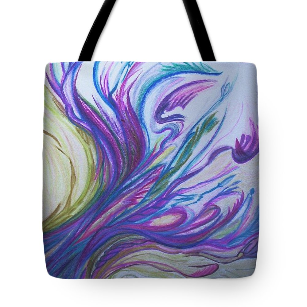 Abstract Tote Bag featuring the painting Seaweedy by Suzanne Udell Levinger
