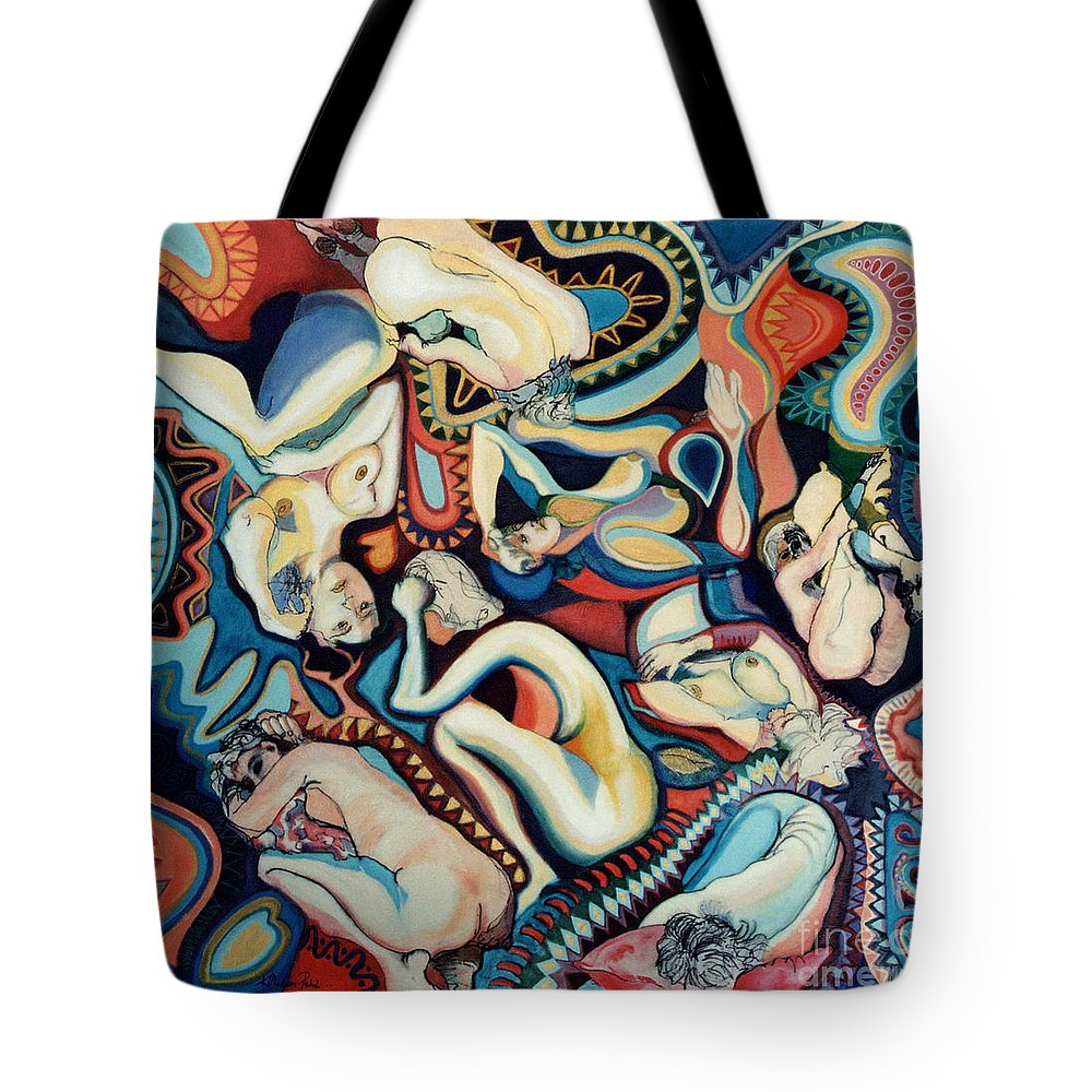 Painting Tote Bag featuring the painting Secret Thoughts by Kerryn Madsen- Pietsch