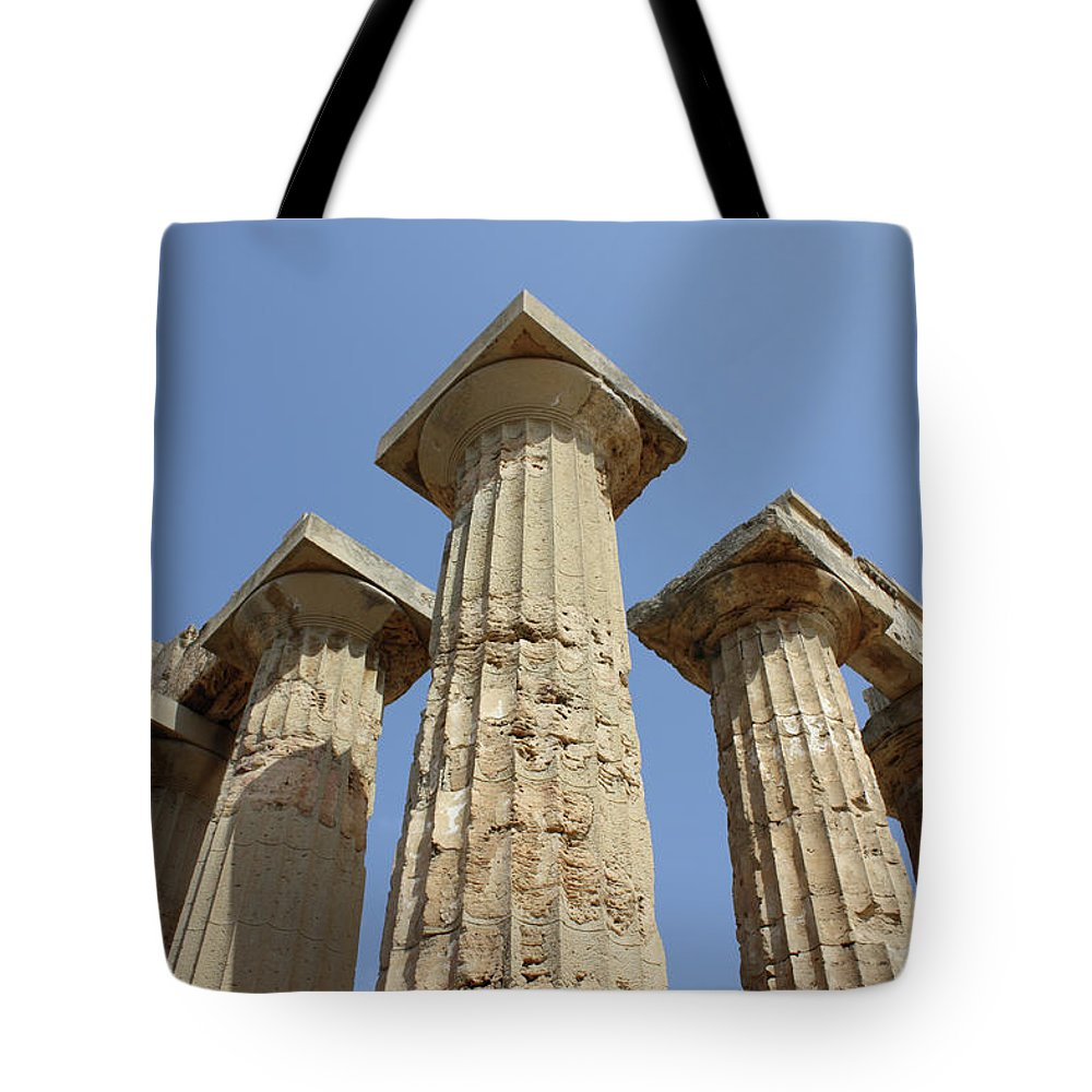 Aged Tote Bag featuring the photograph Segesta Greek Temple In Sicily, Italy by Paolo Modena