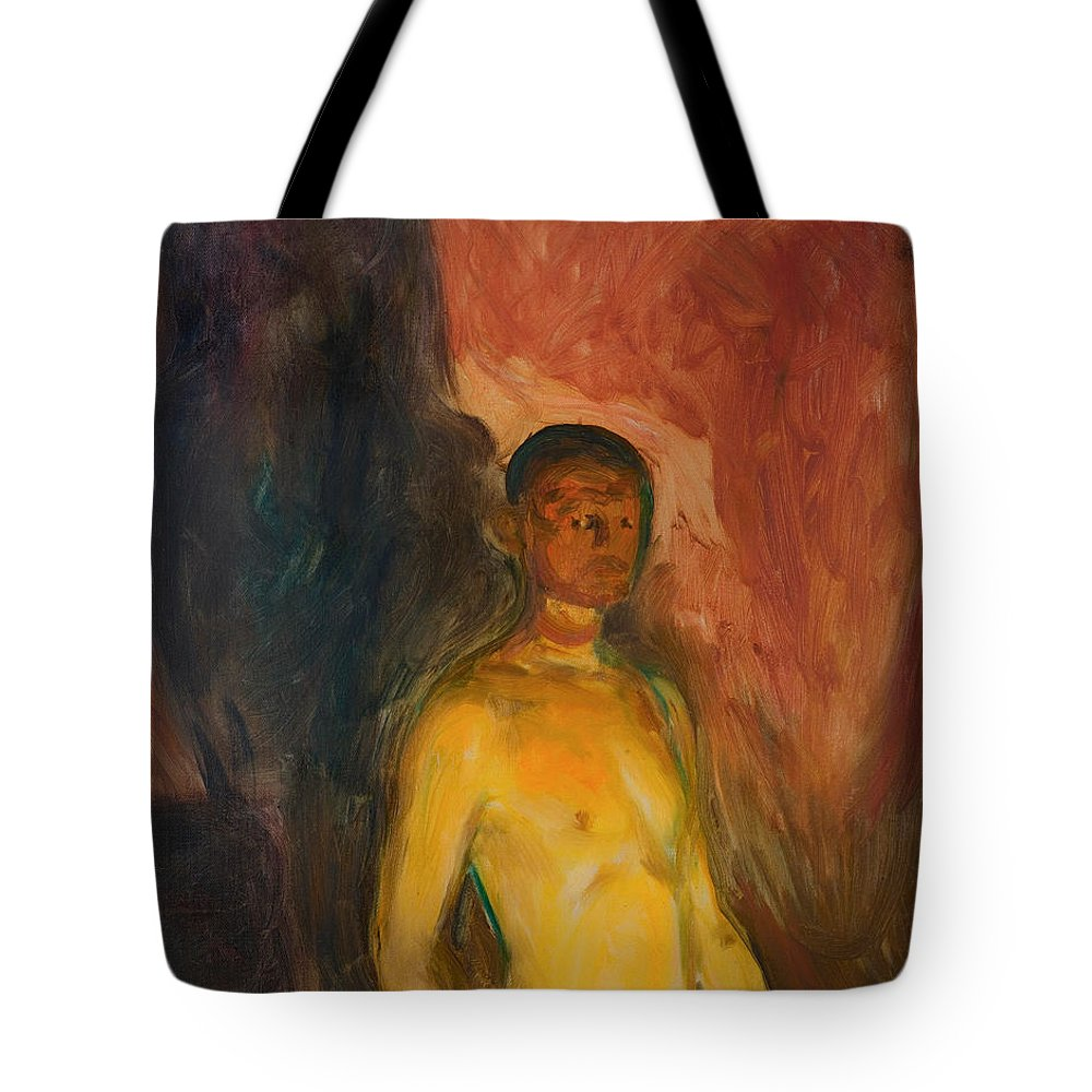 Painting Tote Bag featuring the painting Self Portrait In Hell by Mountain Dreams