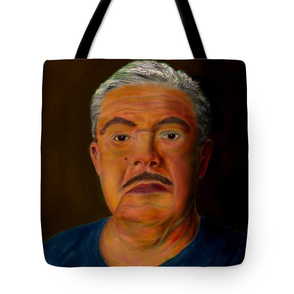 Selfportrait Tote Bag featuring the painting Selfportrait by Helmut Rottler