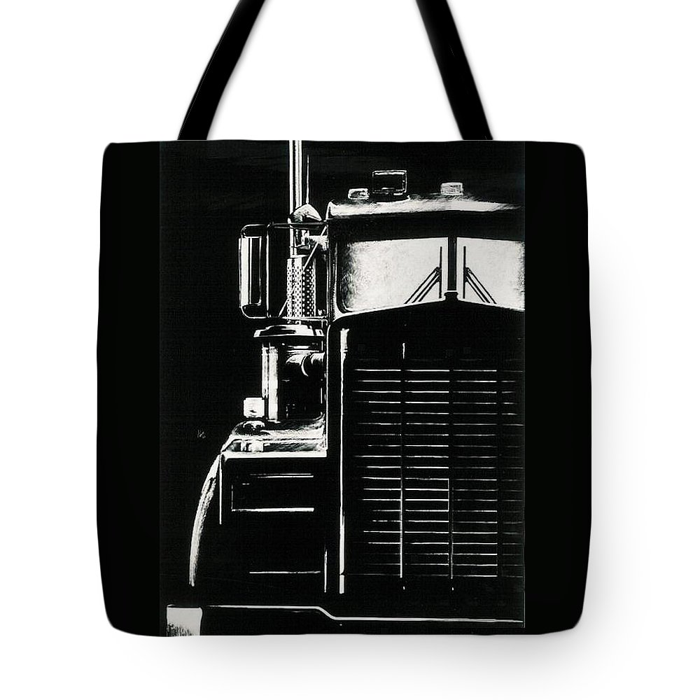 Vehicle Tote Bag featuring the drawing Semi by Barbara Keith