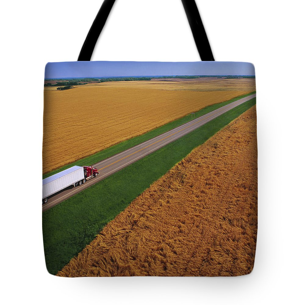Color Image Tote Bag featuring the photograph Semi-trailer Truck by Don Hammond