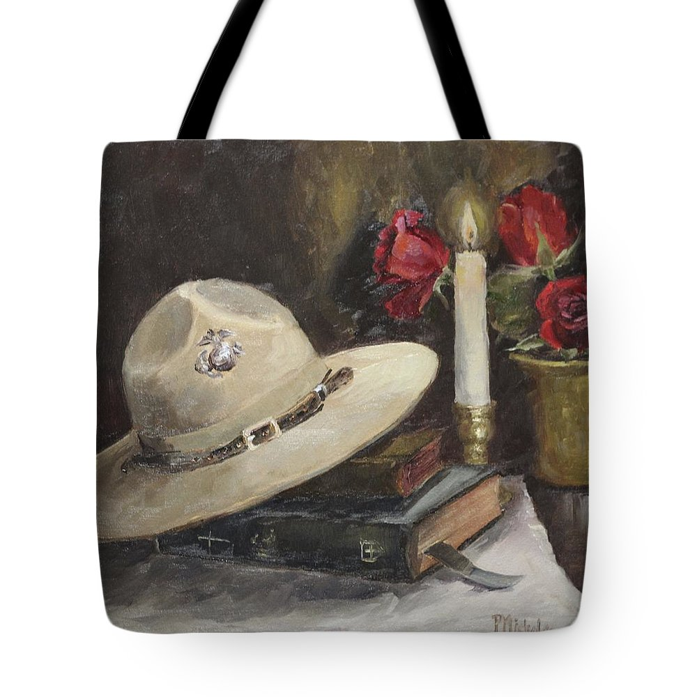 Drill Sergeant's Hat Tote Bag featuring the painting Semper Fi by Pamela Nichols
