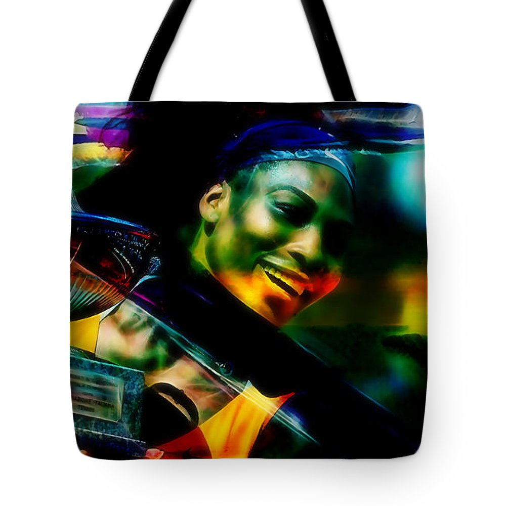 Serena Williams Drawings Tote Bag featuring the mixed media Serena Williams by Marvin Blaine