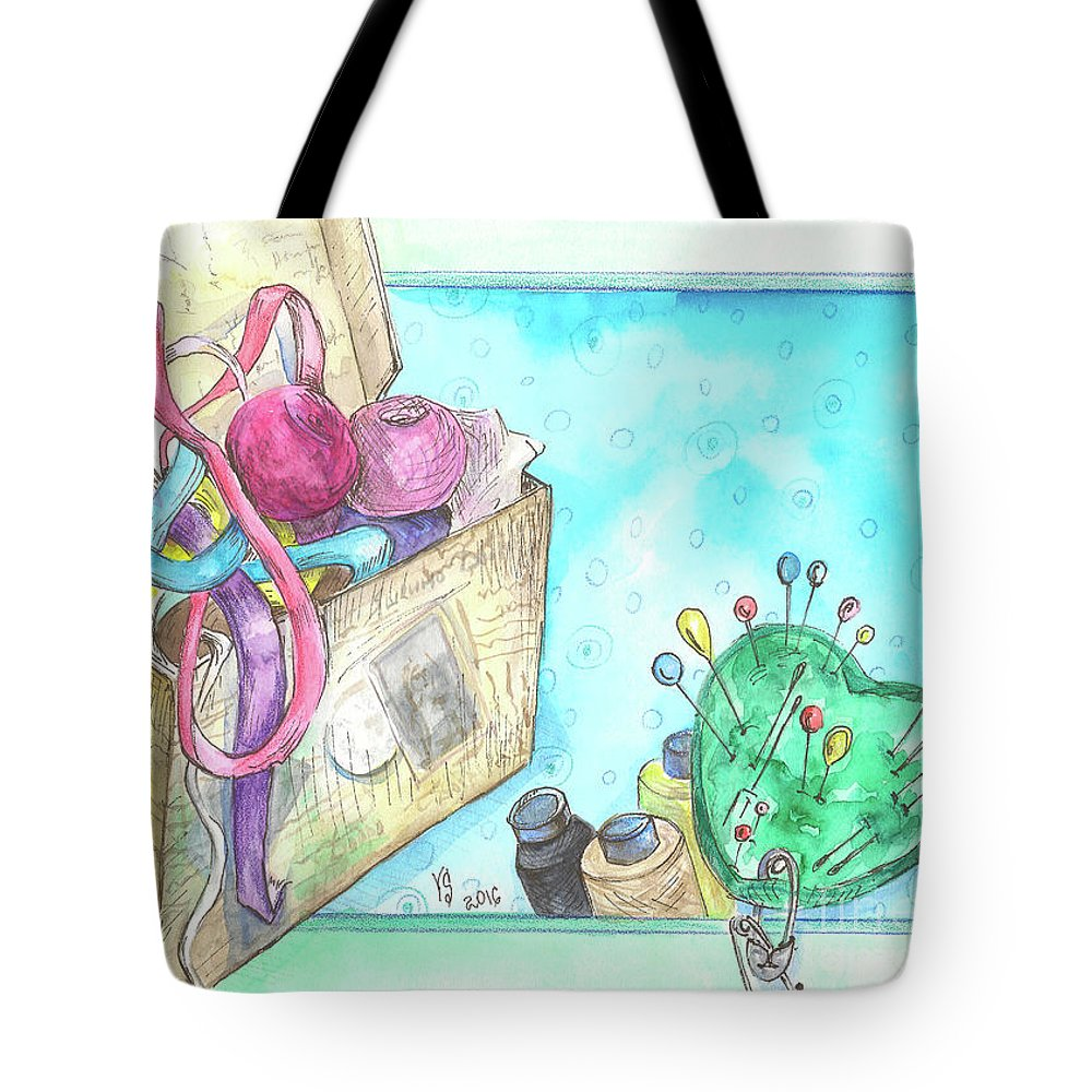 Threads Tote Bag featuring the painting Sewing by Yana Sadykova