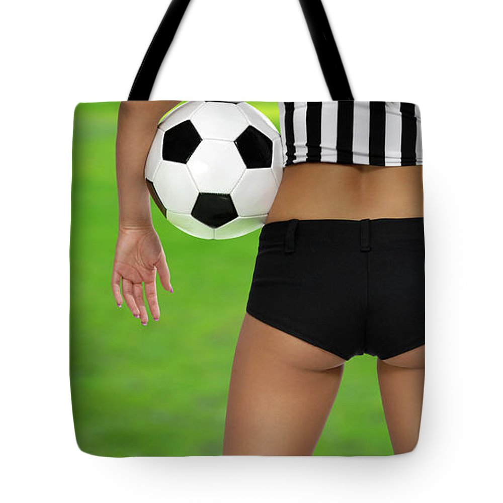 Soccer Tote Bag featuring the photograph Sexy Referee by Oleksiy Maksymenko