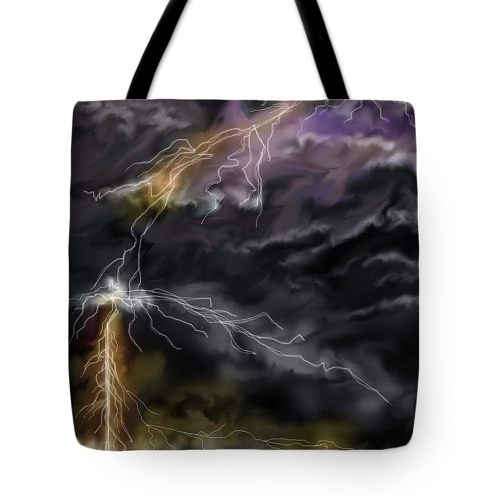 Seascape Tote Bag featuring the painting Shock And Awe by Anne Norskog
