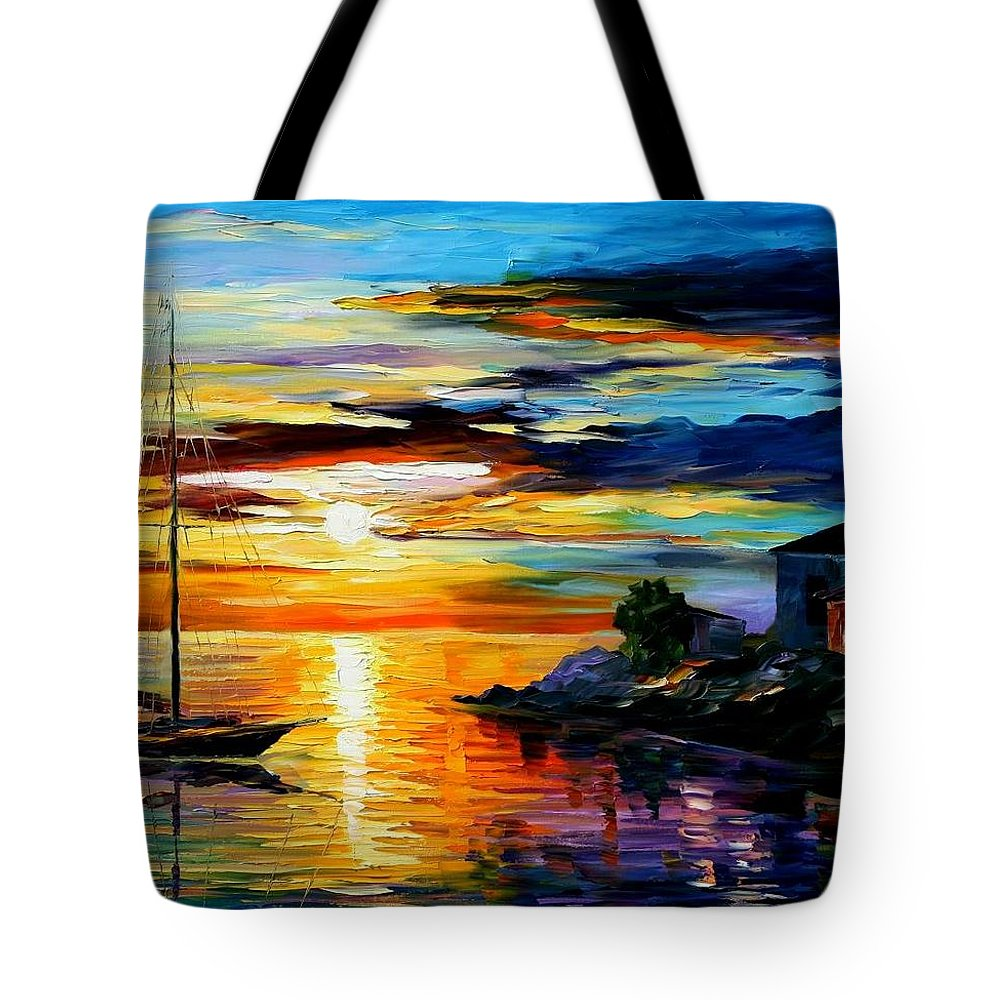 Afremov Tote Bag featuring the painting Sicily - Messina by Leonid Afremov