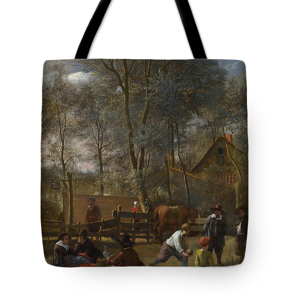 Arts Tote Bag featuring the painting Skittle Players Outside An Inn by Jan Steen