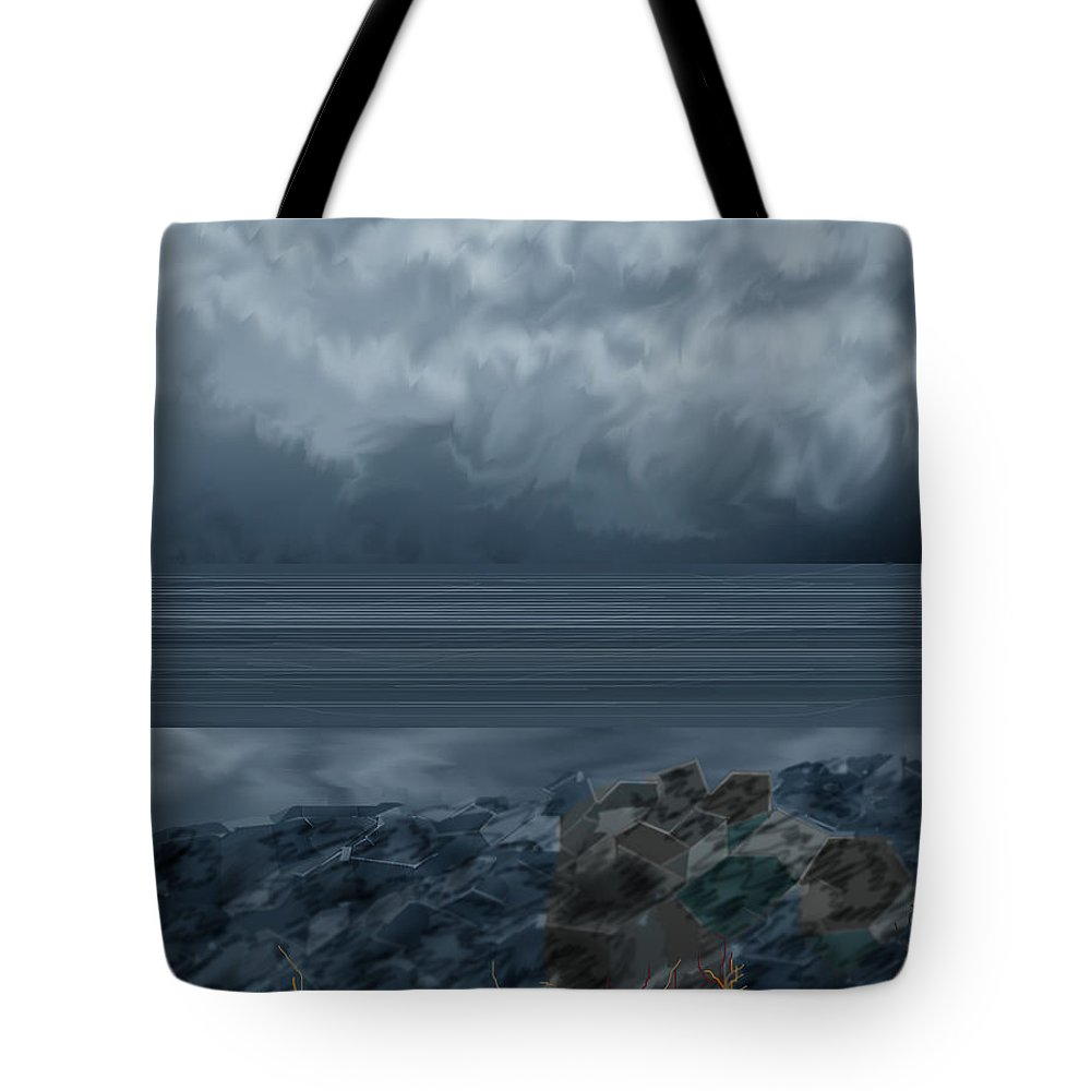 Seascape Tote Bag featuring the painting Slack Tide On The Jetty by Anne Norskog