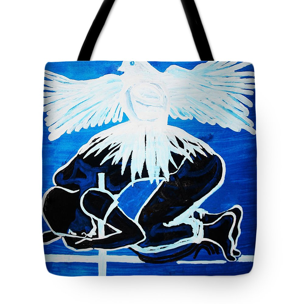 Jesus Tote Bag featuring the painting Slain In The Holy Spirit by Gloria Ssali