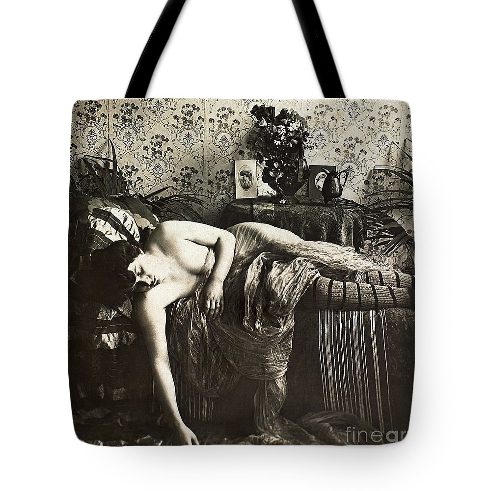 1900 Tote Bag featuring the painting Sleeping Woman, C1900 by Granger