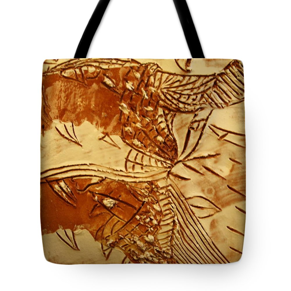 Jesus Tote Bag featuring the ceramic art Smoky - Tile by Gloria Ssali