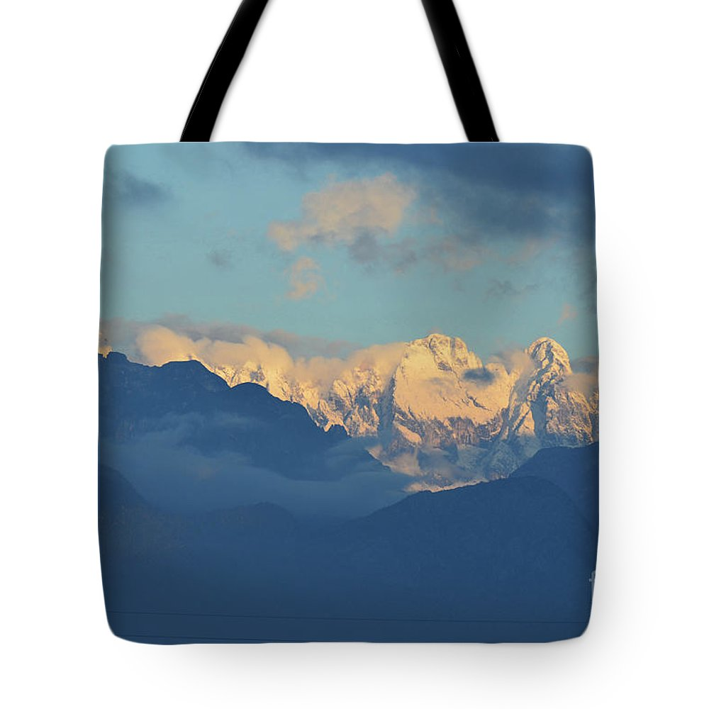 Mountains Tote Bag featuring the photograph Snow Capped Dolomite Mountains In The Countryside Of Italy by DejaVu Designs