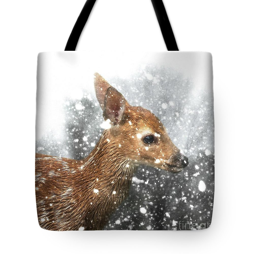 Fawn Tote Bag featuring the photograph Snowing by Lisa Hurylovich